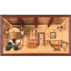 German wooden 3D-picture box-Diorama Farmhouse Parlor Painted - TEMPORARILY OUT OF STOCK