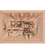 German wooden 3D-picture box-Diorama Carpenter Shop nature