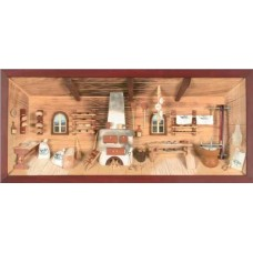 German wooden 3D-picture box-Diorama Bakery Painted