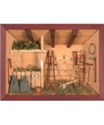 German wooden 3D-picture box-Diorama Farmer Shed Painted
