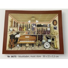German wooden 3D-picture box-Diorama Music Store