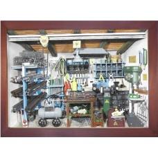 German wooden 3D-picture box-Diorama Locksmith