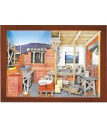 German wooden 3D-picture box-Diorama Bricklayer's Room