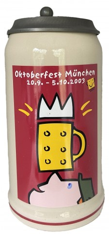 The Official Munich Oktoberfest-Stein 2003 Beerstein with Lid - 1,0 Liter