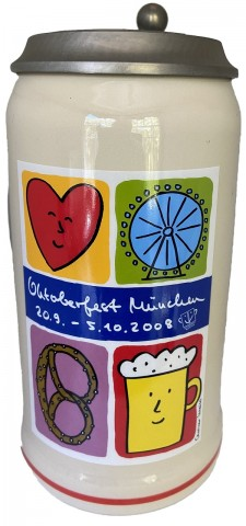 The Official Munich Oktoberfest-Stein 2008 Beerstein with LID - 1,0 Liter