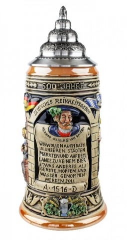 500 Year Anniversary German Beer Purity Law Beer Stein Full Color 1L