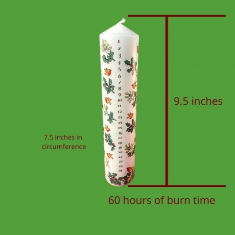 Advent Candle Holly 60 Hours of Burn Time