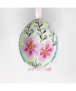 NEW - Christmas Easter Salzburg Hand Painted Easter Egg - Pink Flowers Egg