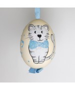 Christmas Easter Salzburg Hand Painted Easter Egg - Blue Kitty
