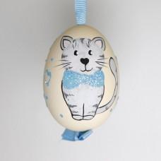 NEW - Christmas Easter Salzburg Hand Painted Easter Egg - Blue Kitty