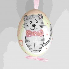 NEW - Christmas Easter Salzburg Hand Painted Easter Egg - Pink Kitty