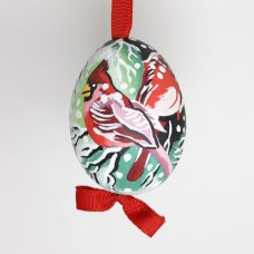 NEW - Christmas Easter Salzburg Hand Painted Easter Egg - Winter Cardinals