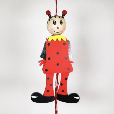 NEW - German Hampelmann Jumping Jack Wooden Toy - Ladybug