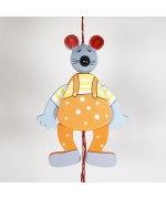 NEW - German Hampelmann Jumping Jack Wooden Toy - Mouse