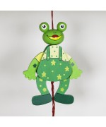 NEW - German Hampelmann Jumping Jack Wooden Toy - Frog