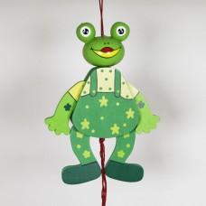 NEW - German Hampelmann Jumping Jack Wooden Toy - Frog