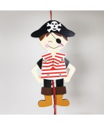 NEW - German Hampelmann Jumping Jack Wooden Toy - Pirate