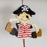NEW - German Hampelmann Jumping Jack Wooden Toy - Pirate