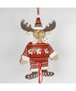 German Hampelmann Jumping Jack Wooden Toy - Winter Moose - TEMPORARILY OUT OF STOCK