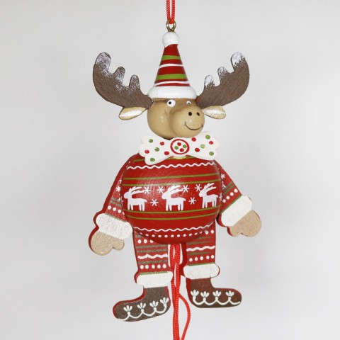 NEW - German Hampelmann Jumping Jack Wooden Toy - Winter Moose