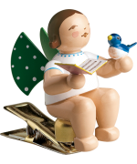 NEW - Wendt & Kuhn Angel with Sheet Music and Bird - Clip On Ornament