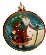 Mouth Blown Glass Ornament 'Dieter H. Rausch's Ltd. Edition Ornament' Red Ball Santa