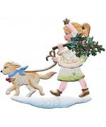 NEW - Wilhelm Schweizer Christmas Pewter 2019 Angel Walking Dog