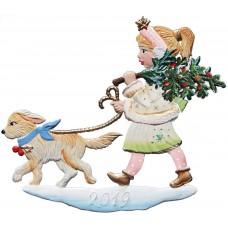 Wilhelm Schweizer Christmas Pewter 2019 Angel Walking Dog