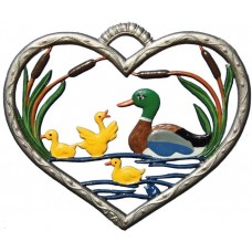 NEW - Ducks in Heart Window Wall Hanging Wilhelm Schweizer