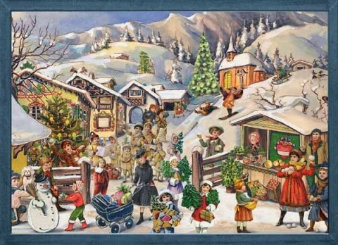 NEW - Old German Paper Advent Calendar - TEMPORARILY OUT OF STOCK