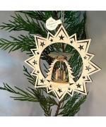 ** NEW **A Wooden Christmas Sleigh Ornament - Nativity