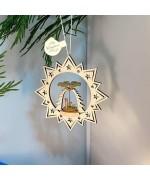 ** NEW **A Wooden Christmas Sleigh Ornament - Shepherds