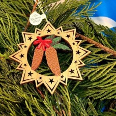 ** NEW **A Wooden Christmas Sleigh Ornament - Pine Cones