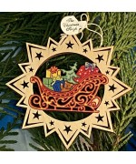 ** NEW **A Wooden The Christmas Sleigh Ornament