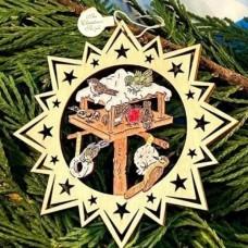 ** NEW **A Wooden Christmas Sleigh Ornament - Birdfeeder