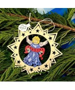 ** NEW **A Wooden Christmas Sleigh Ornament - Blue Angel