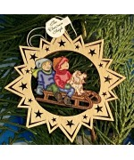 ** NEW **A Wooden Christmas Sleigh with a Girl, Boy, and dog - Ornament