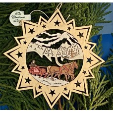 ** NEW **A Wooden Christmas Sleigh Ornament - Horse Drawn