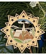 ** NEW **A Wooden Christmas Sleigh Ornament - Church