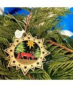 ** NEW **A Wooden Christmas Sleigh Ornament - Deer