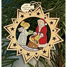** NEW **A Wooden Christmas Sleigh Ornament - Santa and an Angel