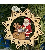 ** NEW **A Wooden Christmas Sleigh Ornament - Santa Toy Bag