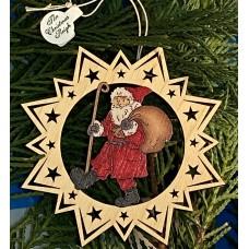 ** NEW **A Wooden Christmas Sleigh Ornament - Santa Walking