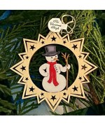 A Wooden Christmas Sleigh Ornament - Snowman - TEMPORARILY OUT OF STOCK