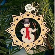 ** NEW **A Wooden Christmas Sleigh Ornament - Snowman