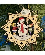 ** NEW **A Wooden Christmas Sleigh Ornament - Snowman with a Girl and Boy