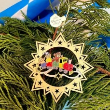 ** NEW **A Wooden Christmas Sleigh Ornament - Toy Train
