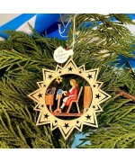 ** NEW **A Wooden Christmas Sleigh Ornament - Woman and Cat