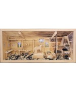 NEW - German Wooden 3D Picture Box Blacksmith Natural Finish