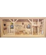 NEW - German Wooden 3D Picture Box Carpenter Workshop Natural Finish